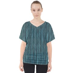 Stylish Frost Blue Strips V Neck Dolman Drape Top