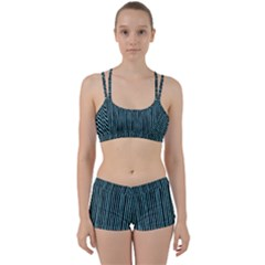 Stylish Frost Blue Strips Women s Sports Set