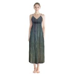 Stylish Rainbow Strips Button Up Chiffon Maxi Dress