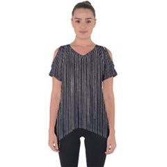 Stylish Silver Strips Cut Out Side Drop Tee