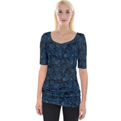 Blue Flower Glitter Look Wide Neckline Tee