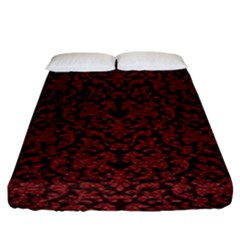 Red Glitter Look Floral Fitted Sheet (king Size)