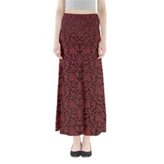 Red Glitter Look Floral Full Length Maxi Skirt
