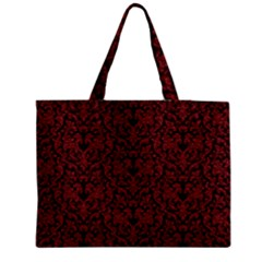 Red Glitter Look Floral Medium Tote Bag
