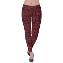 Red Glitter Look Floral Velvet Leggings