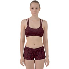 Red Glitter Look Floral Women s Sports Set