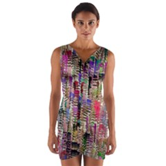 Colorful Shaky Paint Strokes                                 Wrap Front Bodycon Dress