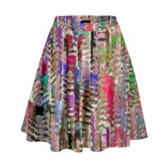 Colorful Shaky Paint Strokes                                High Waist Skirt