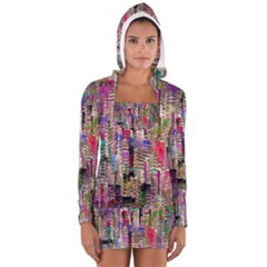 Colorful Shaky Paint Strokes                              Women s Long Sleeve Hooded T Shirt