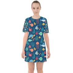 Fish Turtle Jellyfish Art Texture Mini Dress