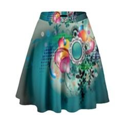 Blue Green Vector Designs High Waist Skirt