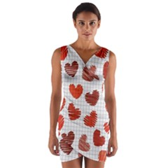 Paper Cells Heart Surface Texture  Wrap Front Bodycon Dress