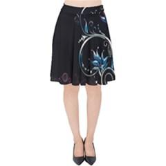 Color Pattern Plant Leaves Dark Background  Velvet High Waist Skirt