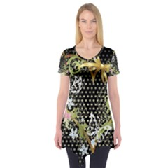 Heart Flowers Patterns Dark Bright  Short Sleeve Tunic