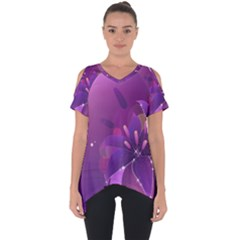 Flowers Lily Lilac Shine  Cut Out Side Drop Tee