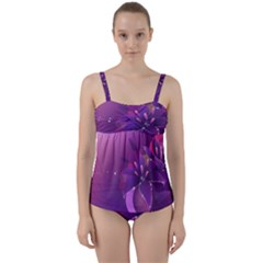 Flowers Lily Lilac Shine  Twist Front Tankini Set