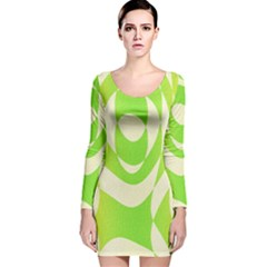 Green Shapes Canvas                              Long Sleeve Velvet Bodycon Dress