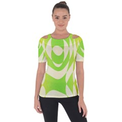 Green Shapes Canvas                        Shoulder Cut Out Short Sleeve Top