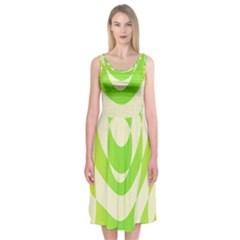 Green Shapes Canvas                        Midi Sleeveless Dress