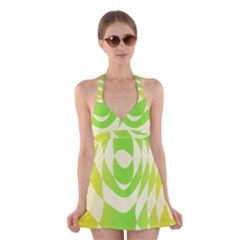 Green Shapes Canvas                                 Halter Swimsuit Dress