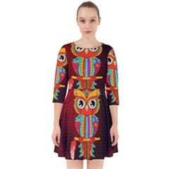 Cute Owl, Mandala Design Smock Dress