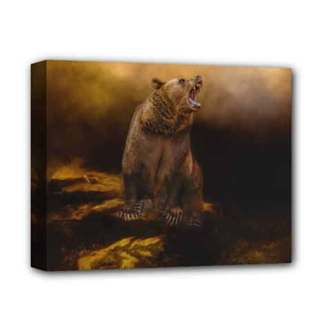 Roaring Grizzly Bear Deluxe Canvas 14  X 11