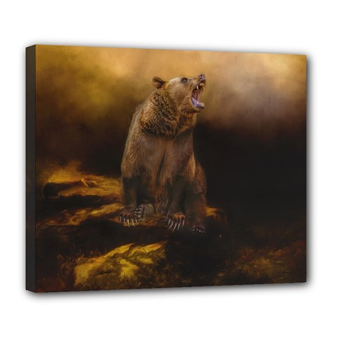 Roaring Grizzly Bear Deluxe Canvas 24  X 20