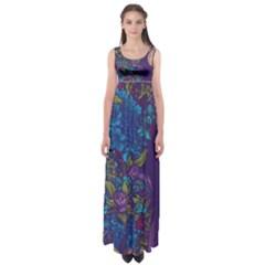Vector Woman Purple Flowers Empire Waist Maxi Dress
