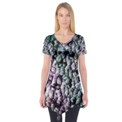 Surface Light Texture Rainbow  Short Sleeve Tunic