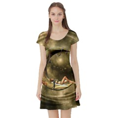 Steampunk Lady  In The Night With Moons Short Sleeve Skater Dress