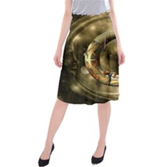 Steampunk Lady  In The Night With Moons Midi Beach Skirt