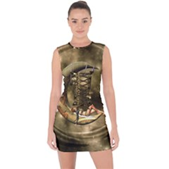 Steampunk Lady  In The Night With Moons Lace Up Front Bodycon Dress