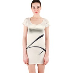 White Drawing Abstract Butterfly  Short Sleeve Bodycon Dress