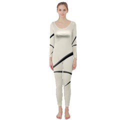 White Drawing Abstract Butterfly  Long Sleeve Catsuit