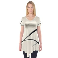 White Drawing Abstract Butterfly  Short Sleeve Tunic