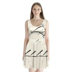 White Drawing Abstract Butterfly  Split Back Mini Dress