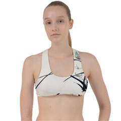 White Drawing Abstract Butterfly  Criss Cross Racerback Sports Bra