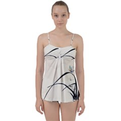 White Drawing Abstract Butterfly  Babydoll Tankini Set