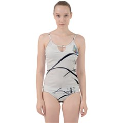 White Drawing Abstract Butterfly  Cut Out Top Tankini Set