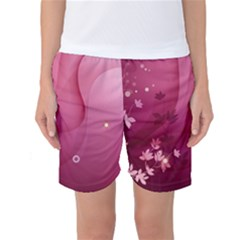 Vector Drawing Pattern Plant Light  Women s Basketball Shorts