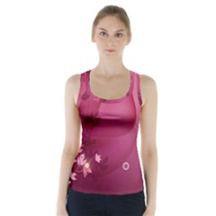 Vector Drawing Pattern Plant Light  Racer Back Sports Top
