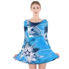 Star Cube Sphere Lines Rays Vector  Long Sleeve Velvet Skater Dress