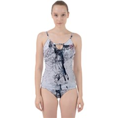 Skull Dance Movement Paint  Cut Out Top Tankini Set