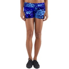 Floral Design, Cherry Blossom Blue Colors Yoga Shorts