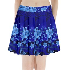 Floral Design, Cherry Blossom Blue Colors Pleated Mini Skirt