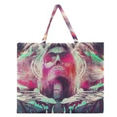 Skull Shape Light Paint Bright 61863 3840x2400 Zipper Large Tote Bag