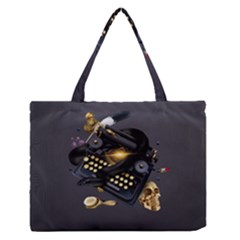Typewriter Skull Witch Snake  Zipper Medium Tote Bag