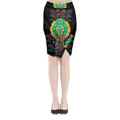 Rain Meets Sun In Soul And Mind Midi Wrap Pencil Skirt