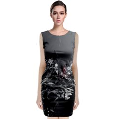 Shape Pattern Light Color Line Classic Sleeveless Midi Dress