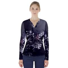 Shape Pattern Light Color Line V Neck Long Sleeve Top